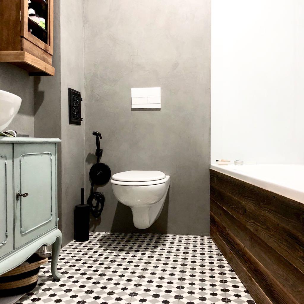 kafelki cementowe w łazience